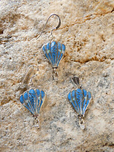Hot Air Balloon 925 Raised Denim Lapis & Opal Petite Pendant & Earrings 3pc Set