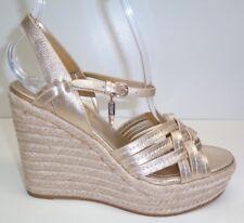 Coach Size 11 DOTTIE Platinum Espadrille Wedge Leather Sandals New Womens Shoes