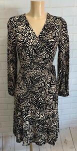 Black and Beige Leaf Print Wrap Jersey Long Sleeve Dress Size 8 - 16