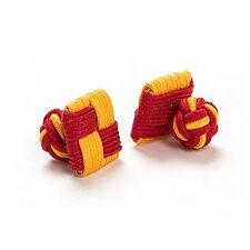 1 Paar Seidenknoten /  Manschettenknöpfe / Cufflinks, rot-gold, London Gentleman