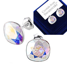 925 Sterling Silver Stud Earrings Square Crystal AB Crystals from Swarovski®