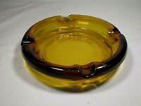 "Vintage Heavy Amber Glass Cigar Ashtray 6"" Diameter"