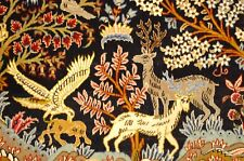 c1930s ANTIQUE ANIMAL SUBJECTS SILK ACCENTS_KORK WOOL PERSIAN KASHAN RUG 2.6x3.4