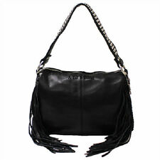 Black Raviani Western Leather Handbag Tote & Cross Body Purse Crystals & Fringe