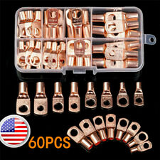 US 60pcs Battery Bare Copper Ring Lug Terminals Connector Wire Gauge SC6-25 Kit