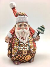 "8.75"" Tall Unique Shape Russian SANTA Father of Frost Hand Carved Hand Painted"
