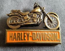 Harley Davidson belt buckle motorcycle orange black brass