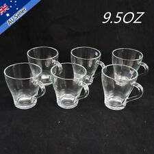 6x Glass Cups Clear Mug Set Tea Cafe Milk Juice Thermo For Coffee Drinking Bar