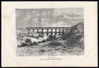 Antique Print-FRANCE-PONT DU GARD-BRIDGE-ROMAN AQUEDUCT-Reclus-Laplante-1881