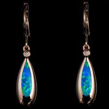 Natural Diamond Blue Opal Hook Teardrop Earrings Solid 14K Yellow Gold Jewelry