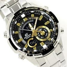 CASIO EDIFICE, SUPER ILLUMINATOR, ERA600D-1A9 ERA-600D-1A9, BLACK x GOLD TONE
