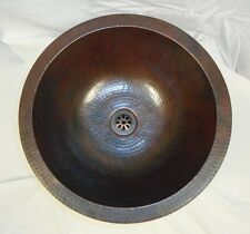"15"" Round Hand Hammered Copper Bathroom Sink ON SALE"