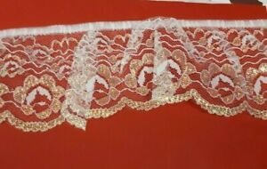 White Scalloped Edge Nylon Gathered Lace With Iridescent Pattern 75mm max Drop