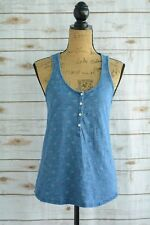 Lands' End CANVAS 1963 - Blue NAUTICAL anchor print partial button cotton tank M
