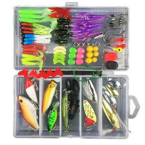 88pcs Fishing Lure Set Fake Simulation Bait w/ Tackle Box Artificial Lures Kit