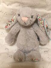 Jellycat BABY Bashful Blossom Silver Bunny Rabbit Plush Toy Grey Gray NWT
