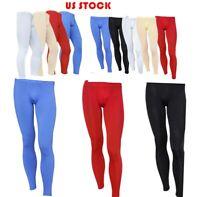 US Men Mesh Sheer Trousers Smooth Yoga Long Pants Leggings See Through Underwear