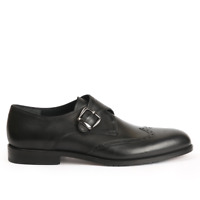 Men's Handmade formal Black Leather Oxford Brogue Monk Strap Single Buckle