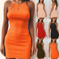 Women Off Shoulder Halter Neck Bodycon Dress Summer Party Sexy Short Mini Dress