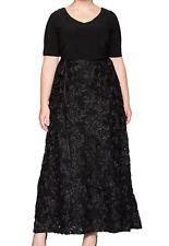 Alex Evenings NEW Black Women's Size 16W Plus Rosette Gown Dress $229 109