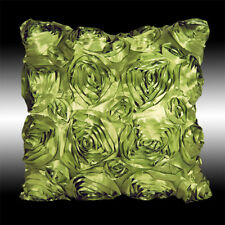 ELEGANT LIME GREEN 3D RAISED ROSES FAUX SILK CUSHION COVER THROW PILLOW CASE 16""