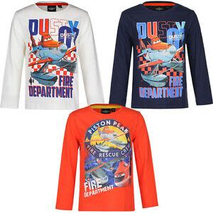 Kinder Langarmshirt Jungen Shirt Planes Pullover weiß blau orange 98 - 128 #144