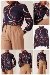 Phase Eight - Swirl Satin Blouse - Navy/Multi - Size 14 (Brand New With Tag)