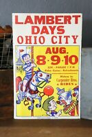 Vintage Circus Carnival sign Poster fair OHIO CITY Clown Mary go round horse