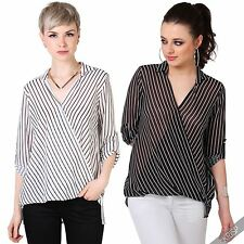 Polyester V Neck Formal Striped Tops & Shirts for Women