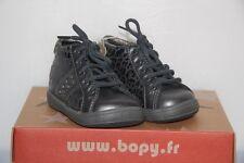 BOPY -  Zerock - Chassures bébé Fille -  Cuir Gris léopard  -  T 18 neuf