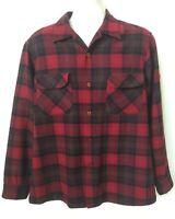 Vintage 1960s Pendleton Wool Board Shirt Mens L Red Plaid USA Flap Pocket Loop