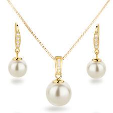 Schmuckset 925 Silber vergoldet Perlen cremeweiß Anhänger, Kette und Ohrhänger