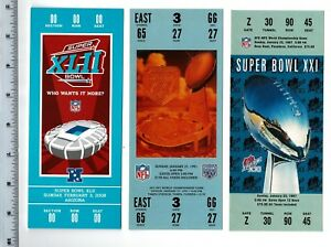 """1st 3 NY New York Giants Super Bowl Full Size REPLICA Tickets 7.5"""" x 3"""""""