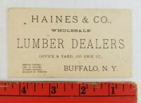 Vintage 1900's Haines Co. Lumber Dealers Buffalo New York Business Card