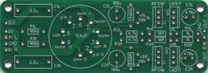 KMTech 12AU7 Tube/MOSFET based 12V Headphone Amplifier v1.01 100 x 35mm PCB DIY