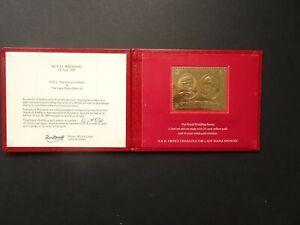 GB QEII Prince Charles & Diana 23ct gold postage stamp from Staffa Scotland