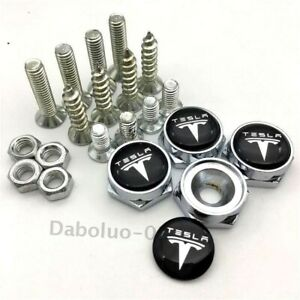 Car Auto Front Rear License Plate Screws Bolt Caps Badge Styling Logo For Tesla