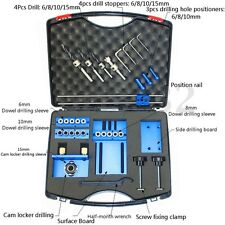 Aluminium Alloy Dowelling Jig Set Jig Wood Dowel Drilling Position Jig Cam +Case