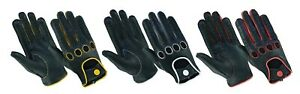Mens Classic Retro style quality Chauffeur Soft Goatskin Leather Driving Gloves