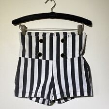 XS Vintage 90s DELIA'S Black White Wide Striped High Waist Shorts