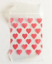 100 Red Heart Hearts Ziplock Bags Baggies Baggy Smell Proof 40mm x 60mm