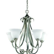 Progress Lighting Torino 5-Light Brushed Nickel Chandelier with Etched Glass
