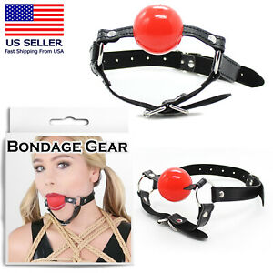 """1.6"""" Red PU Leather Ball-Gag Chin-Strap Mouth Bondage Slave Cosplay Sex Toy USA"""