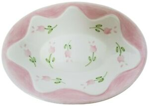 Vintage Croscill Home Fashions Rosebuds Pink White Floral Oval Soap Dish AS IS