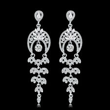 Plated Woman Wedding Party Earring Fashion Rhinestone Moon Shape Alloy Rhodium