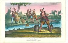 1858 COSTUMI CINESI maniera di annaffiare litografia Chinese farmers 中国农民 China