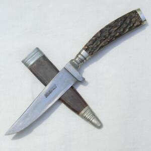 CARL WITTGENS Solingen Germany Bavarian Lederhosen knife jigged bone orig sheath