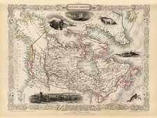 Old Vintage Map of Canada British America richly illustrated Tallis 1851
