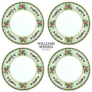 "Williams-Sonoma FAMILLE ROSE 10.75"" Dinner Plate Set 4Pc Floral Porcelain Mint"