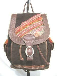 Mexican Large Brown & Multicolor Blanket Fabric, Tooled Leather Backpack Purse